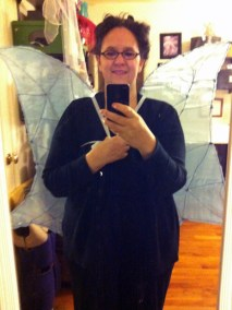 "Trystan wearing wings for a ""test flight"""